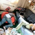 Pretty much what 1st year of College was like at Calvin. That's me on the bean-bag.