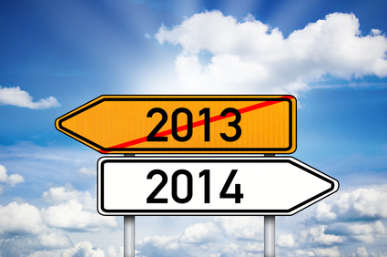 Wegweiser mit 2013 und 2014
